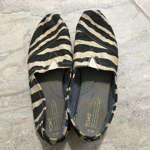 TOMS Zebra-Print Slip-On, Black/White, Alpargata